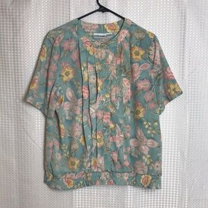 VTG Alfred Dunner Floral Pleated Short Sleeve Top